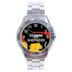 German Shepherd Name Silhouette On Flag Black Stainless Steel Analogue Watch