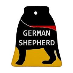 German Shepherd Name Silhouette On Flag Black Ornament (Bell)