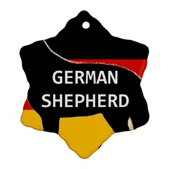 German Shepherd Name Silhouette On Flag Black Snowflake Ornament (Two Sides)