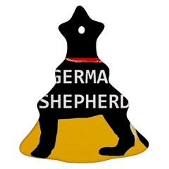 German Shepherd Name Silhouette On Flag Black Christmas Tree Ornament (Two Sides)