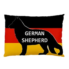 German Shepherd Name Silhouette On Flag Black Pillow Case (Two Sides)
