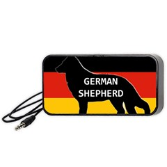 German Shepherd Name Silhouette On Flag Black Portable Speaker (Black)