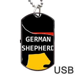 German Shepherd Name Silhouette On Flag Black Dog Tag USB Flash (One Side)