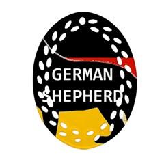 German Shepherd Name Silhouette On Flag Black Ornament (Oval Filigree)