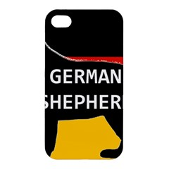 German Shepherd Name Silhouette On Flag Black Apple iPhone 4/4S Hardshell Case