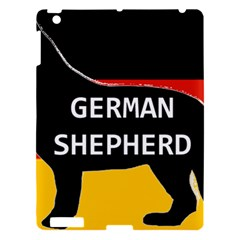 German Shepherd Name Silhouette On Flag Black Apple iPad 3/4 Hardshell Case