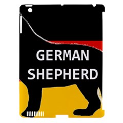 German Shepherd Name Silhouette On Flag Black Apple iPad 3/4 Hardshell Case (Compatible with Smart Cover)