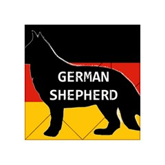 German Shepherd Name Silhouette On Flag Black Acrylic Tangram Puzzle (4  x 4 )