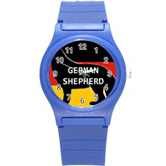 German Shepherd Name Silhouette On Flag Black Round Plastic Sport Watch (S)