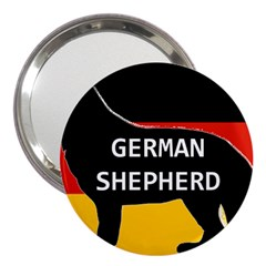 German Shepherd Name Silhouette On Flag Black 3  Handbag Mirrors
