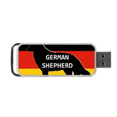 German Shepherd Name Silhouette On Flag Black Portable USB Flash (Two Sides)