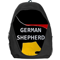 German Shepherd Name Silhouette On Flag Black Backpack Bag