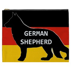 German Shepherd Name Silhouette On Flag Black Cosmetic Bag (XXXL)
