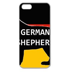 German Shepherd Name Silhouette On Flag Black Apple Seamless iPhone 5 Case (Clear)