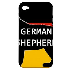 German Shepherd Name Silhouette On Flag Black Apple iPhone 4/4S Hardshell Case (PC+Silicone)