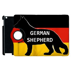 German Shepherd Name Silhouette On Flag Black Apple iPad 2 Flip 360 Case