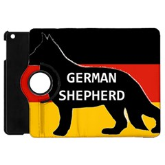 German Shepherd Name Silhouette On Flag Black Apple iPad Mini Flip 360 Case