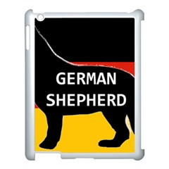 German Shepherd Name Silhouette On Flag Black Apple iPad 3/4 Case (White)