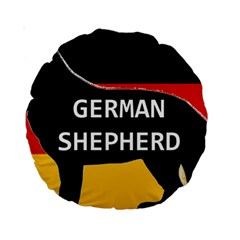 German Shepherd Name Silhouette On Flag Black Standard 15  Premium Round Cushions
