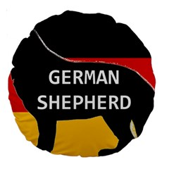 German Shepherd Name Silhouette On Flag Black Large 18  Premium Round Cushions