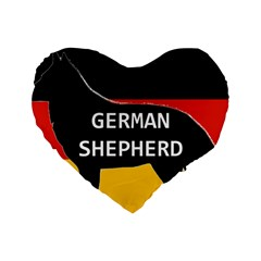 German Shepherd Name Silhouette On Flag Black Standard 16  Premium Heart Shape Cushions