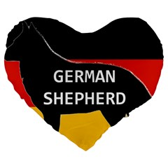 German Shepherd Name Silhouette On Flag Black Large 19  Premium Heart Shape Cushions