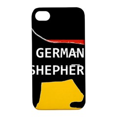 German Shepherd Name Silhouette On Flag Black Apple iPhone 4/4S Hardshell Case with Stand