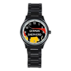 German Shepherd Name Silhouette On Flag Black Stainless Steel Round Watch