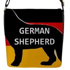 German Shepherd Name Silhouette On Flag Black Flap Messenger Bag (S)