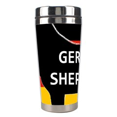 German Shepherd Name Silhouette On Flag Black Stainless Steel Travel Tumblers