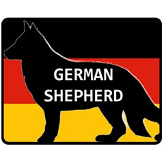 German Shepherd Name Silhouette On Flag Black Double Sided Fleece Blanket (Medium)
