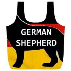 German Shepherd Name Silhouette On Flag Black Full Print Recycle Bags (L)