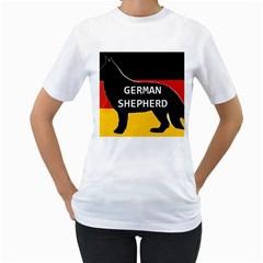 German Shepherd Name Silhouette On Flag Black Women s T-Shirt (White)