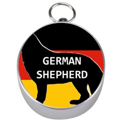 German Shepherd Name Silhouette On Flag Black Silver Compasses