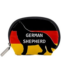 German Shepherd Name Silhouette On Flag Black Accessory Pouches (Small)