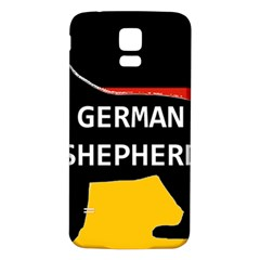 German Shepherd Name Silhouette On Flag Black Samsung Galaxy S5 Back Case (White)