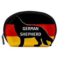 German Shepherd Name Silhouette On Flag Black Accessory Pouches (Large)