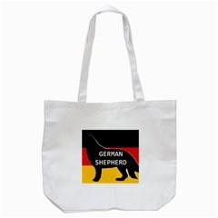 German Shepherd Name Silhouette On Flag Black Tote Bag (White)