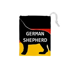 German Shepherd Name Silhouette On Flag Black Drawstring Pouches (Small)