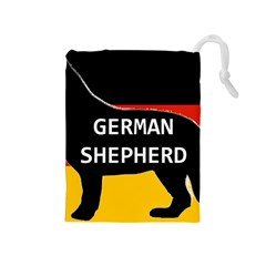 German Shepherd Name Silhouette On Flag Black Drawstring Pouches (Medium)