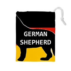 German Shepherd Name Silhouette On Flag Black Drawstring Pouches (Large)
