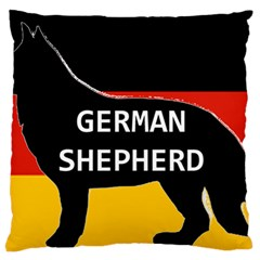 German Shepherd Name Silhouette On Flag Black Large Flano Cushion Case (One Side)