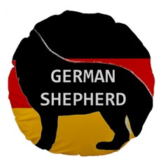 German Shepherd Name Silhouette On Flag Black Large 18  Premium Flano Round Cushions