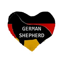 German Shepherd Name Silhouette On Flag Black Standard 16  Premium Flano Heart Shape Cushions