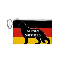 German Shepherd Name Silhouette On Flag Black Canvas Cosmetic Bag (S)