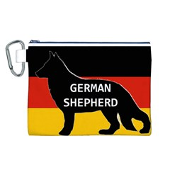 German Shepherd Name Silhouette On Flag Black Canvas Cosmetic Bag (L)