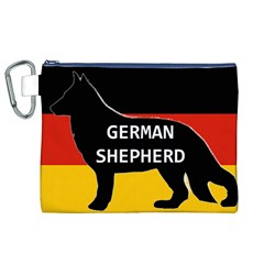 German Shepherd Name Silhouette On Flag Black Canvas Cosmetic Bag (XL)