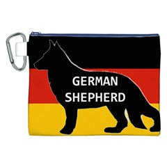 German Shepherd Name Silhouette On Flag Black Canvas Cosmetic Bag (XXL)