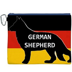 German Shepherd Name Silhouette On Flag Black Canvas Cosmetic Bag (XXXL)