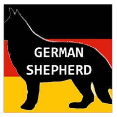 German Shepherd Name Silhouette On Flag Black Large Satin Scarf (Square)